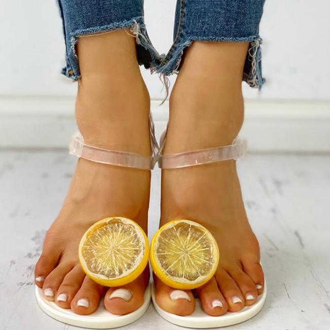 Women's Fashion Transparent Strap Side Open Lemon Pattern Flat Beach Sandals