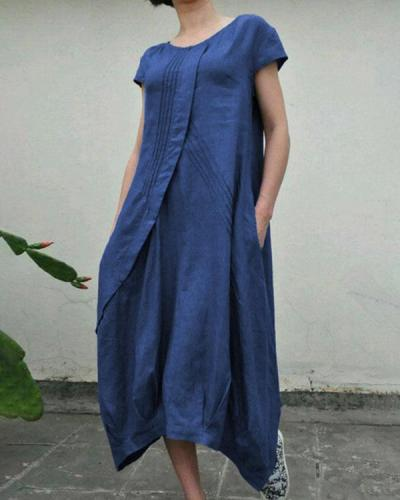 Summer Linen Pockets Pleated Swing Solid Midi Dresses