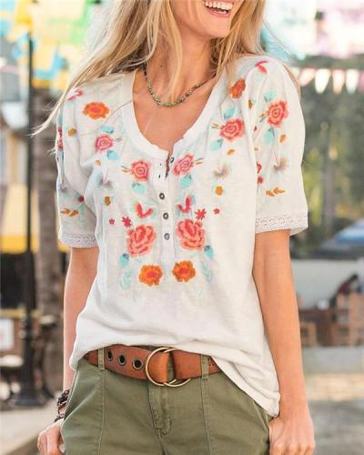 Irregular Floral Printed  Fashion LooseTops Holiday Fall Daily Casual Blouse