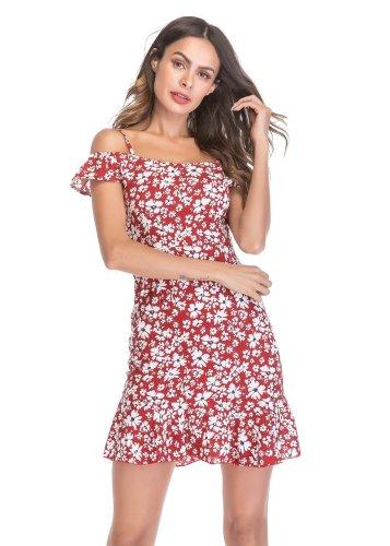 Women's Chiffon Ruffled Hem Strapless Floral Mini Dress