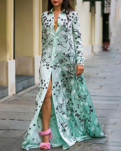 Women Sexy Floral Printed Long Sleeve Plus Size Maxi Dress