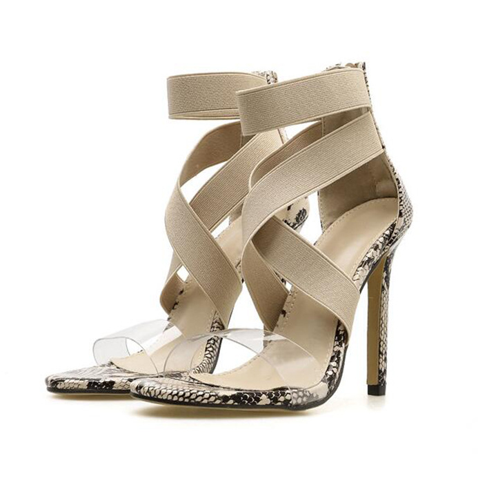Plus Size Woman Summer Snake Skin High Heel Sandals