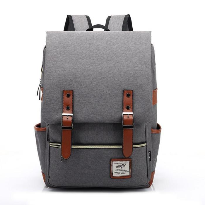Vintage Travel Backpack Leisure Canvas With Leather Backpack&Schoolbag