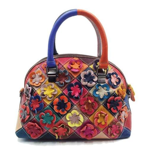 Bohemian Floral Shell Handbag Genuine Leather Patchwork Crossbody Bag