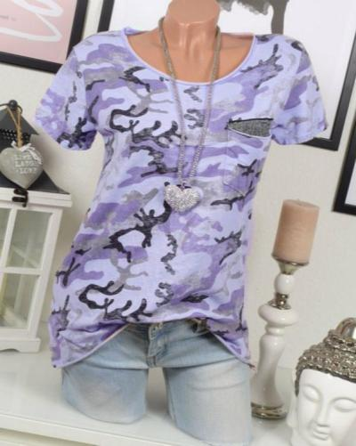 Women Crew Neck Camouflage Printed Cotton-Blend Casual T-Shirts