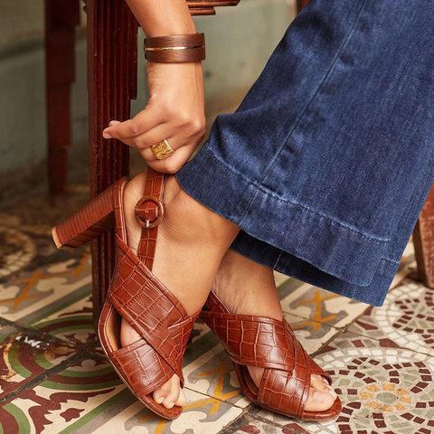 Mid-Heeled Peep Toe Sandals Sexy Crossed Plaited Strap Sandals