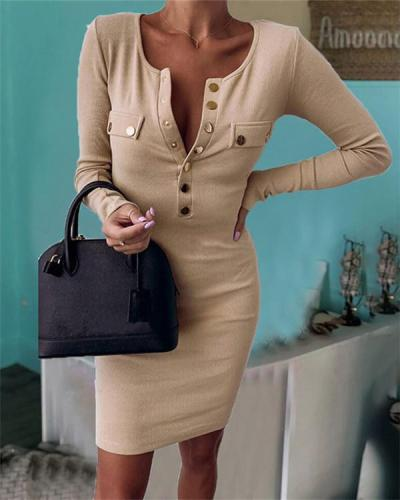 Round Neck Buttons Long Sleeves Plain Bodycon Midi Dress