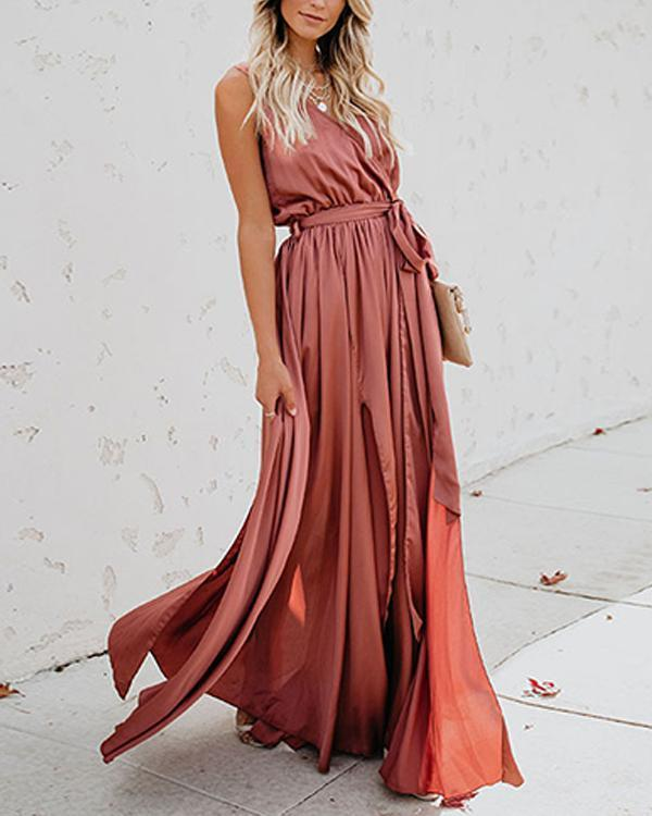 Solid Sleeveless A-line Casual/Vacation Maxi Dresses