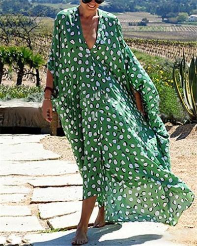 Bohemian Polka Dot Sexy Long Sleeve Maxi Shift Dress