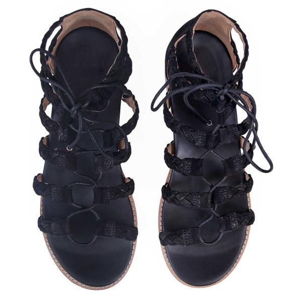 Comfortable flat leopard lace-up women's sandals
