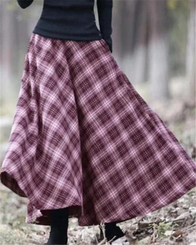 Casual Plaid Vintage Skirt