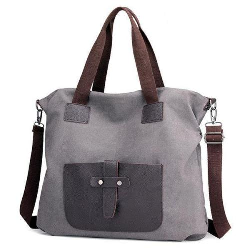 KVKY Canvas Crossbody Bag Large Capacity Patchwork Tote Bag