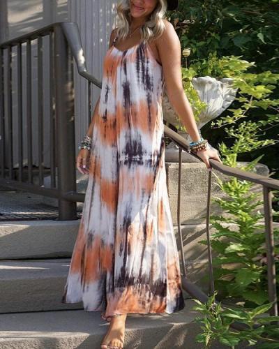 Orange Striped Spaghetti Strap Pleated Bohemian Beachwear Maxi Dress