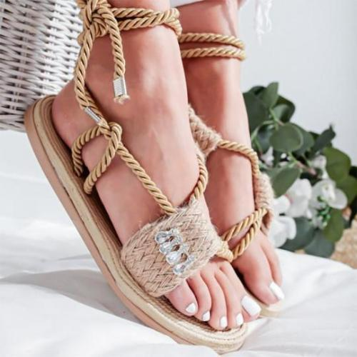 Flat Hemp Rhinestone Wrap Casual Sandals