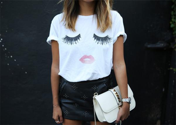 Women Casual Round Neck Lips Printed Short Sleeve T-Shirts Tops