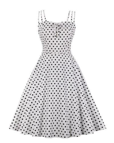 Strap Polka Dot Print A-line Mini Dress