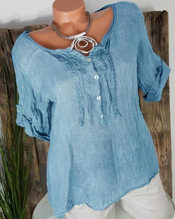 Women Casual Chiffon Short Sleeve Solid Plus Size Blouses Tops
