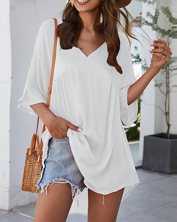 V Neck Half Sleeve Mini Dress