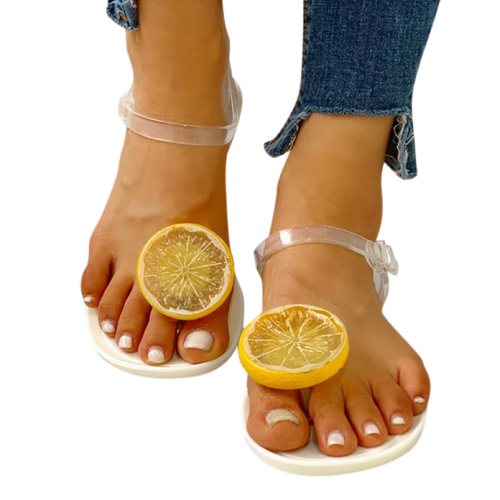 Women's Fashion Transparent Strap Side Open Lemon Pattern Flat Beach Sandals