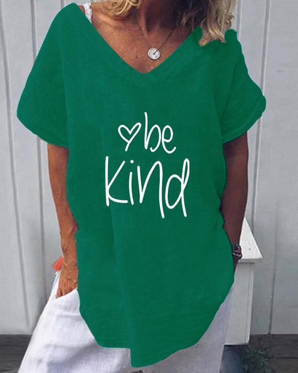 Summer Casual V-Neckline Be Kind Letter Print Short Sleeve Blouses