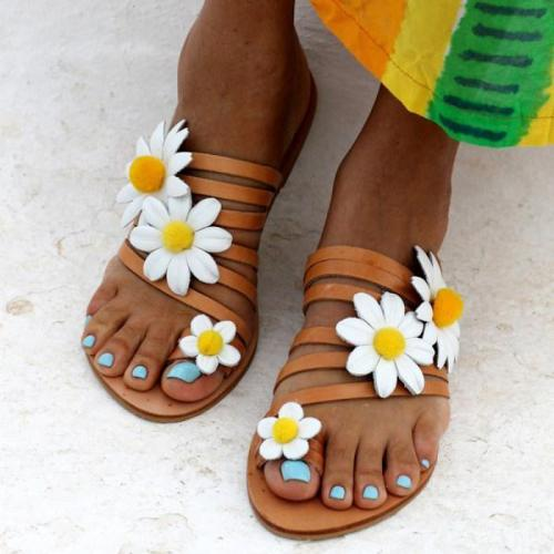 Womens Fashion Flower Flat Sandals