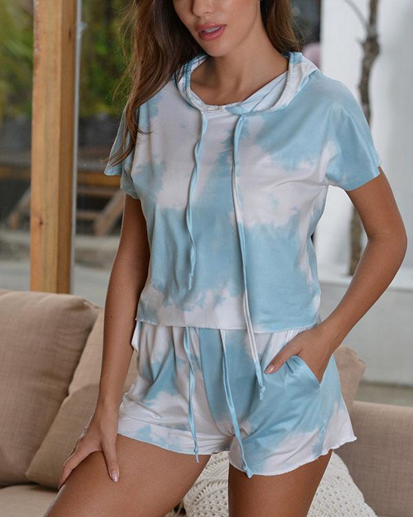 Tie-dye Sports Casual Short Sleeve Suit