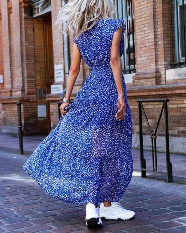 Holiday Polka Dots Frill Sleeve Paneled Maxi Dress
