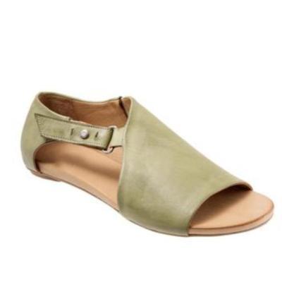 Women Open Toe Closed Back Flat Heel Sandals Casual Comfort Zipper Buckle Slip On Shoes