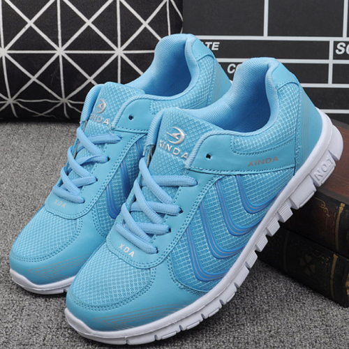 Women Casual Breathable Walking Mesh Lace Up Flat Sneakers