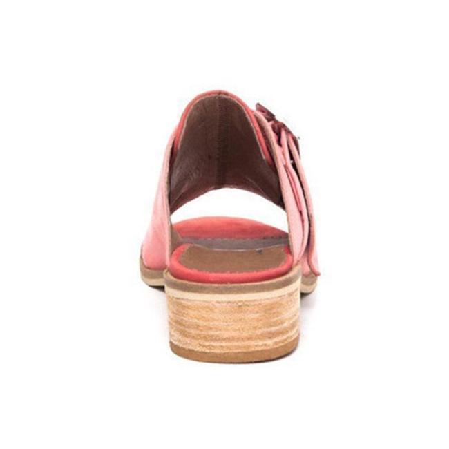 Plus Size Women Casual Open Peep Toe Block Heel Buckle Sandals