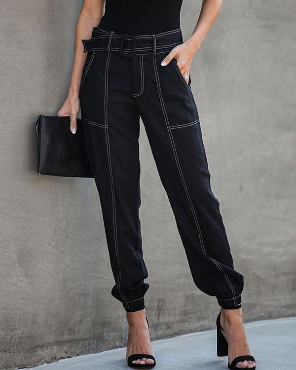 Women Black Sashes Pocket Cargo Pants Lace Up Trousers