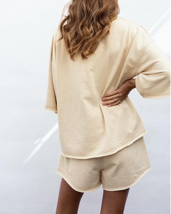 Apricot Short Sleeve Shorts Lounge Set