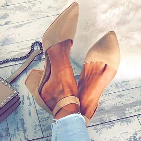 Women Flocking Pumps Sandals Casual Comfort Adjustable Buckle Shoes