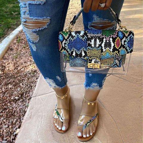 Women Jelly Transparent Slippers Flat Heel Clear Summer  Sandals