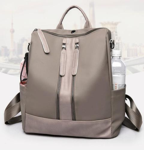Women Leather Oxford Cloth Shoulder Bag Travel Waterproof Backpack