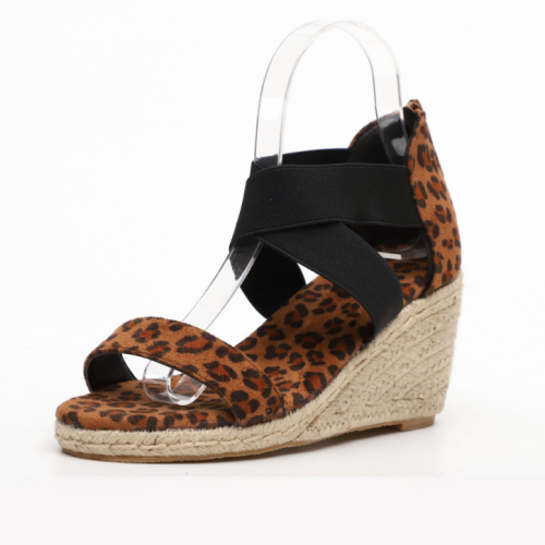 2020 New Fashion Woman Leopard Wedge Sandals