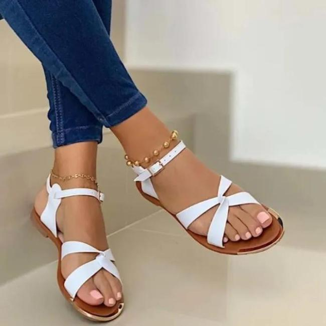Holiday Flat Heel Leather Sandals