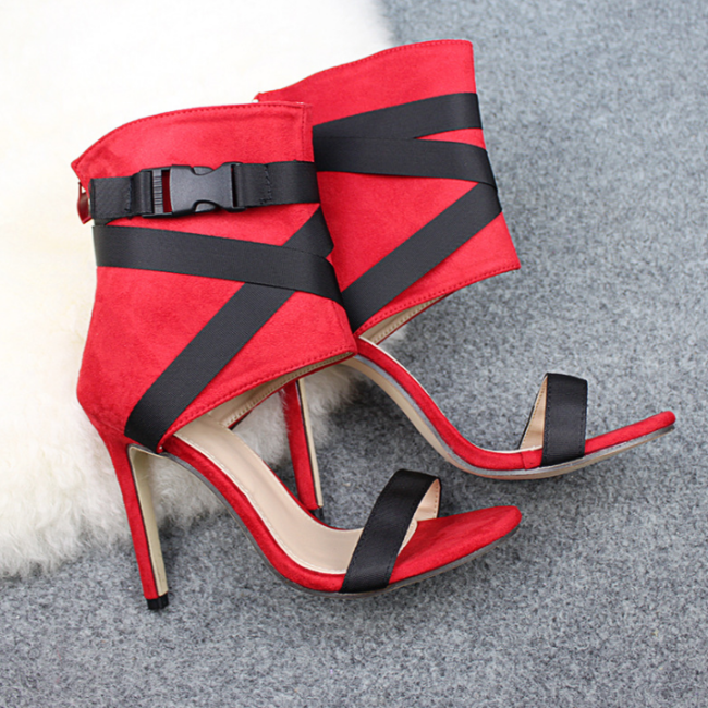 Ladies Casual Thick Buckle Party Sexy Bandage Ankle Pointed Toe Sansals