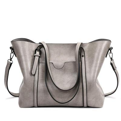 Women Oil Leather Tote Handbags Casual Front Pockets Crossbody Bags Shoulder Bags