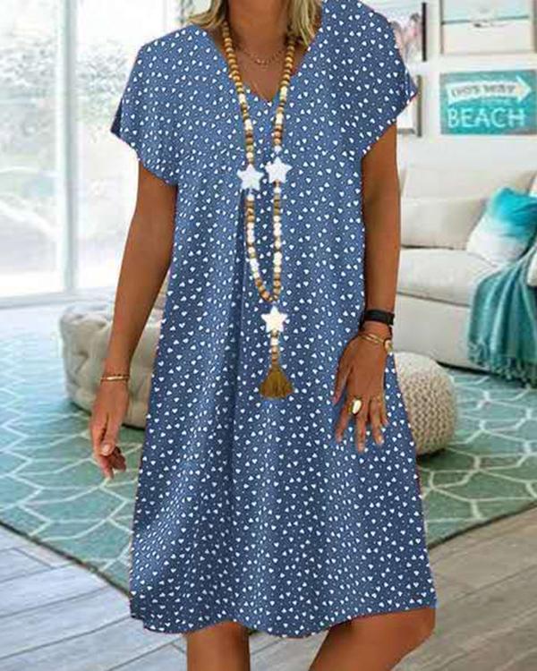 Women Casual Short Sleeve V-neck Polka Dot Printed Dress