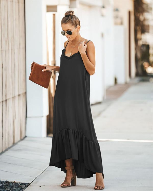 Women Sleeveless Sling Dress with Stitching Hemline Solid Color Maxi Dress