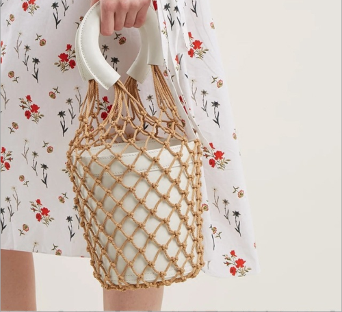 Womens Woven Net Bucket Bag Handbags Cowhide Luxury Handbags