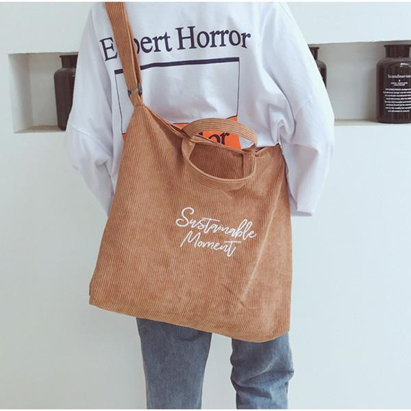Women Retro Corduroy Zipper Tote Bag Handbag Shoulder Bag
