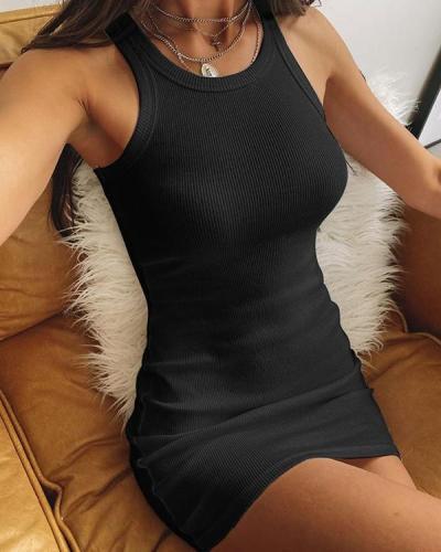 Sexy Solid Slim Sleeveless Basic Mini Bodycon Dresss