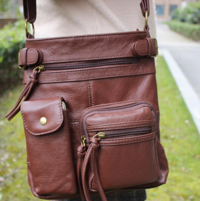 Women Multi-pocket Casual Faux Leather Crossbody Bag