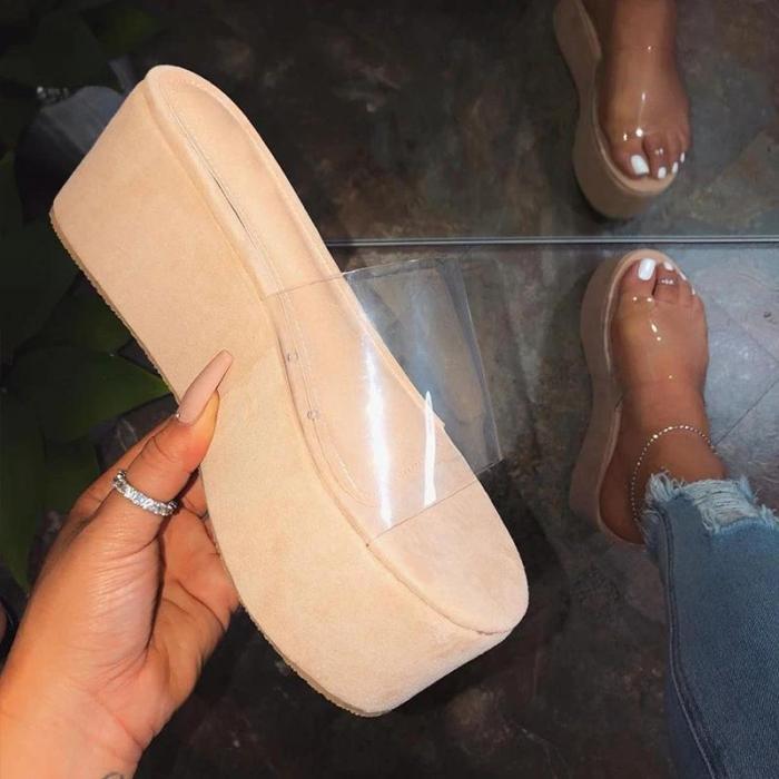 Women Platform High Heel PVC Summer Slippers