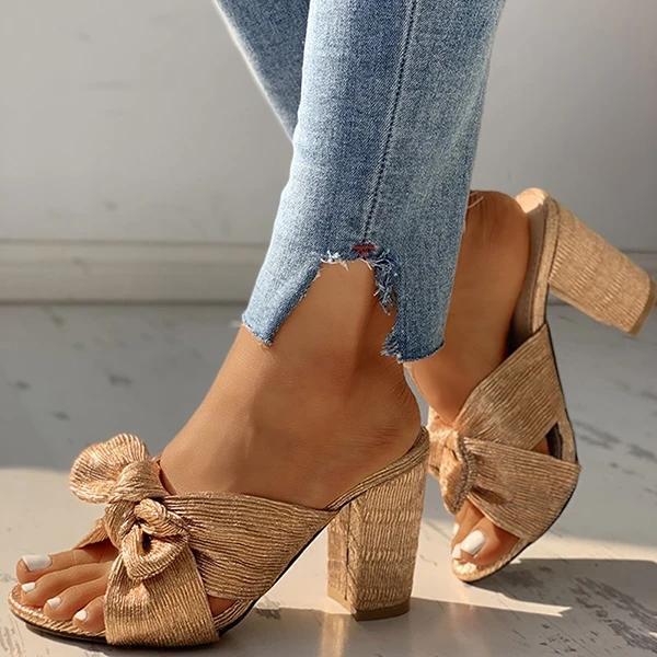 Peep Toe Bowknot Design Chunky Heeled Sandals