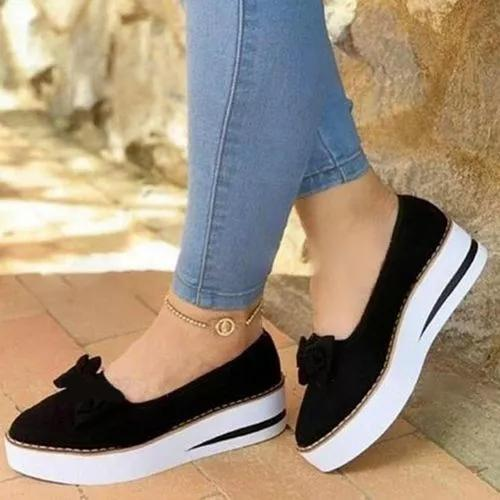 Women's Bowknot Round Toe Wedge Heel Loafers