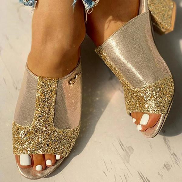 Fashion thick high-heeled color-block sequin fish mouth women's slippers