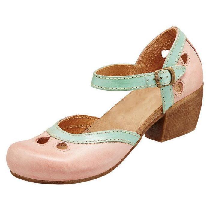 Women Comfy Buckle Strap Pumps Low Heel Sandals